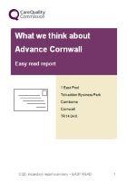 Advance Cornwall CQC report 2018