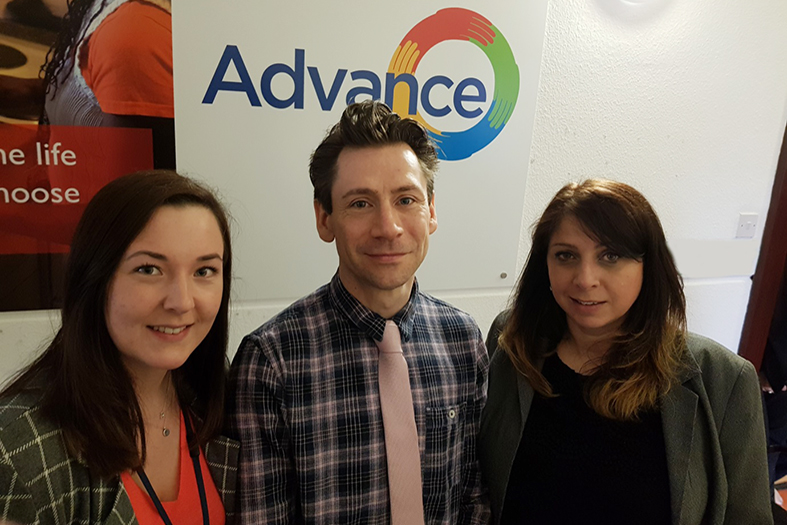 James with Anne-Louise and Victoria from the Advance Employment Team