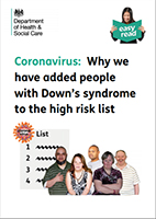 Why people with Down's syndrome have been added to the high risk list